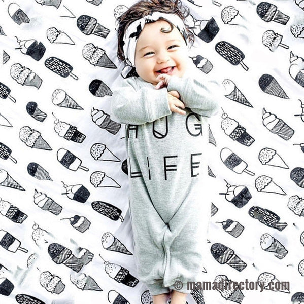 'Hug Life' Long Sleeve Romper Jumper