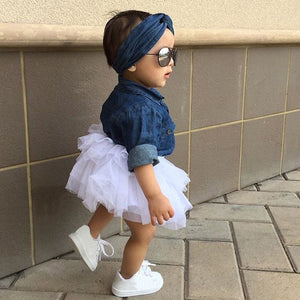 Denim Cowgirl 3pcs Denim Top, Tutu & Matching Headband Outfit Set