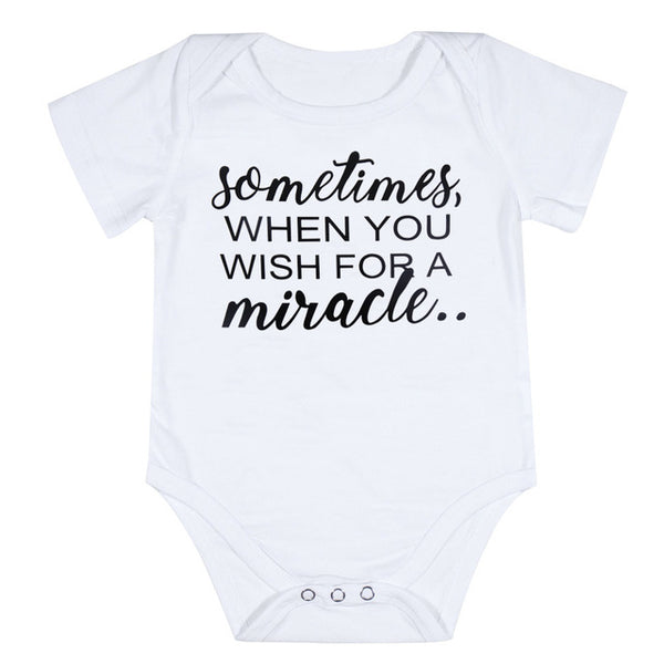 "'Sometimes When You Wish For a Miracle"", ""You Get Two"" Short Sleeve Romper Onesies for Twins"
