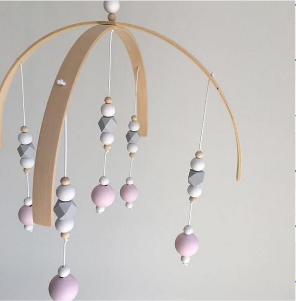 Nordic Style Wooden Beads Wind Chimes for Nursery Crib