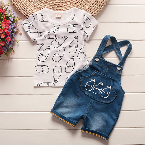 Milk Bottle Print Short Sleeve T-Shirt & Milk Denim Overalls 2pc Set Outfit