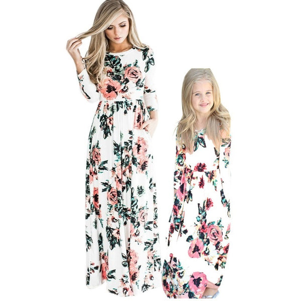 Floral Print Long Sleeve Matching Mom & Daughter Maxi Dresses