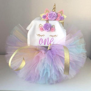 First Birthday Outfit - 3pcs Short Sleeve Unicorn Romper, Tutu & Unicorn Headband