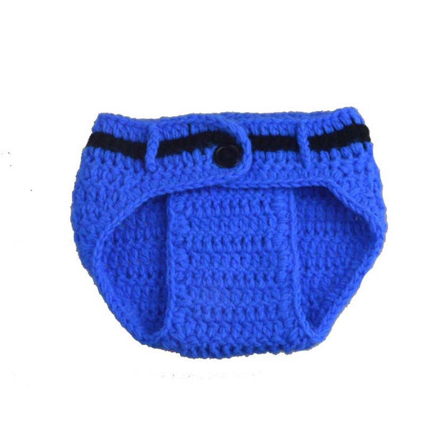 Police Officer Handmade Crochet Newborn Baby Bottoms & Hat Outfit for Photography