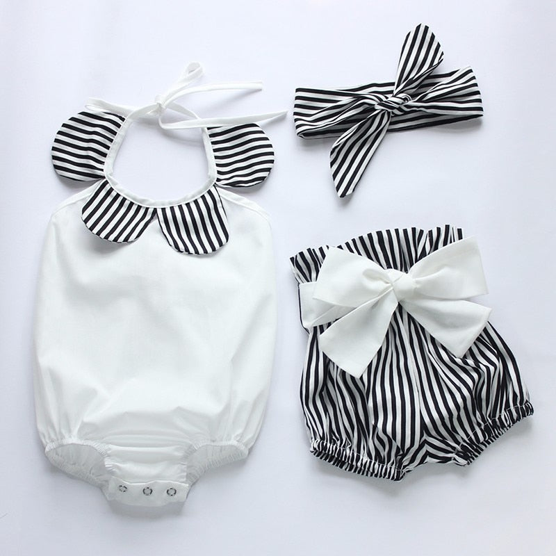 Black & White Striped 3pc Halter Romper, Bow Bloomers & Matching Bow Headband Outfit Set