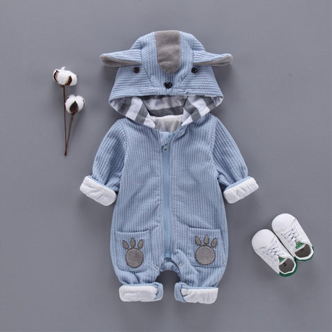 Blue or Pink Animal Ears Hooded Fleece Winter Jumpsuit Romper