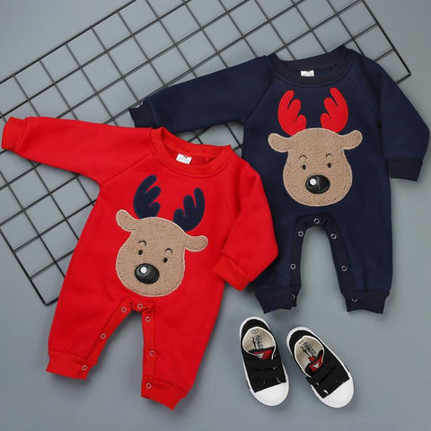 Warm Winter Reindeer Baby Romper Jumpsuit