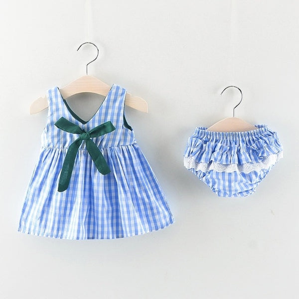 Baby Girls Sleeveless Dress + Briefs 2PCS Outfit