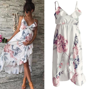 White V-Neck Flower Ruffle Maternity/Pregnancy Dress for Photography