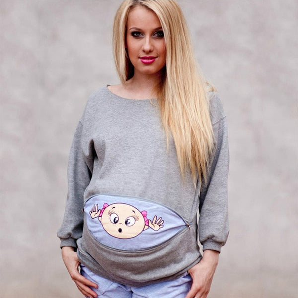 Baby Peeking Out Long Sleeve Maternity/Pregnancy Shirt