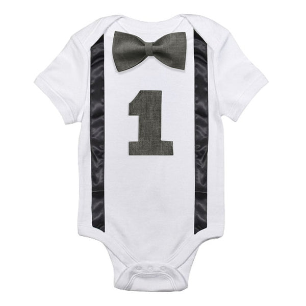 1st Birthday Baby Boy Bowtie Romper Onesie Party Outfit