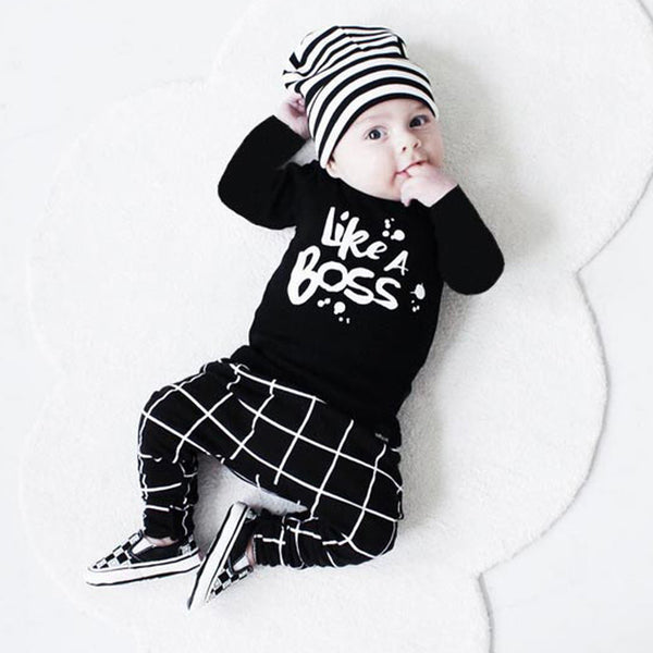'Like a Boss' Long Sleeve T-Shirt & Striped Pants Outfit Set