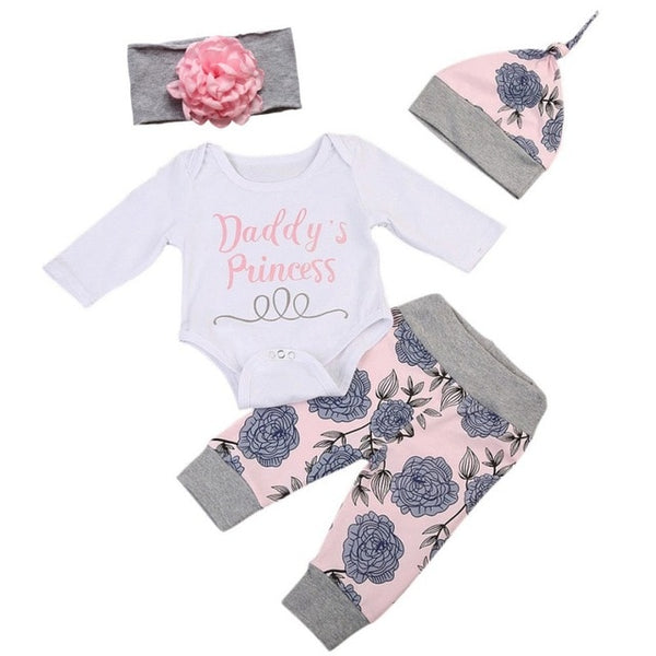 Daddy's Princess 4pc Long Sleeve Romper, Rose Print Pants, Matching Hat & Flower Headband Outfit Set