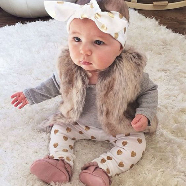 Heart 3pcs Long Sleeve Gray Romper, Heart Print Pants & Matching Headband Outfit Set