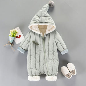 Green or Pink Fuzzy Warm Pointy Hooded Baby Jumpsuit