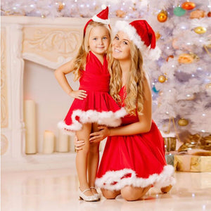 Santa Christmas Mother & Daughter Matching Dresses