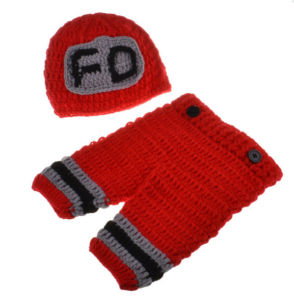Fireman Handmade Crochet Newborn Baby Suspender Pants & Hat Outfit for Photography