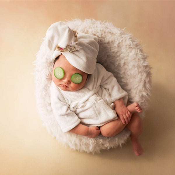 Newborn Baby 2pcs Scarf Headwrap & Bathrobe Costume Set for Photography