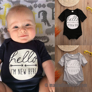 'Hello I'm New Here' Short Sleeve Black or Gray Romper Onesie