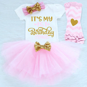 'It's My 1st Birthday' Short Sleeve Romper, Tutu, Leg Warmers & Headband Party Outfit Set