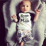 'Snuggle This Muggle' 2PCS Baby Clothing Set - T-Shirt & Character Pants