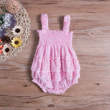 Summer Newborn Infant Baby Girl Pink Casual Bodysuit Jumpsuit Romper