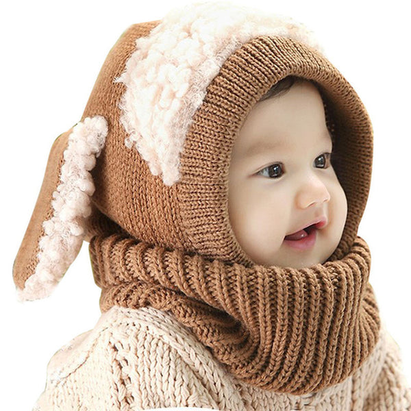 Bunny Rabbit Ear Handmade Warm Wool Turtleneck Winter Hat