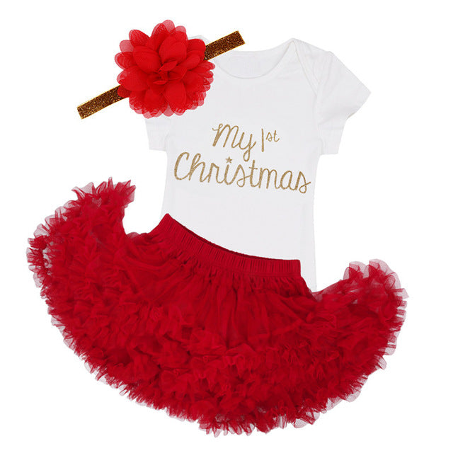 My First Christmas 3pcs Baby Girl Red Tutu, Romper and Headband Costume Outfit