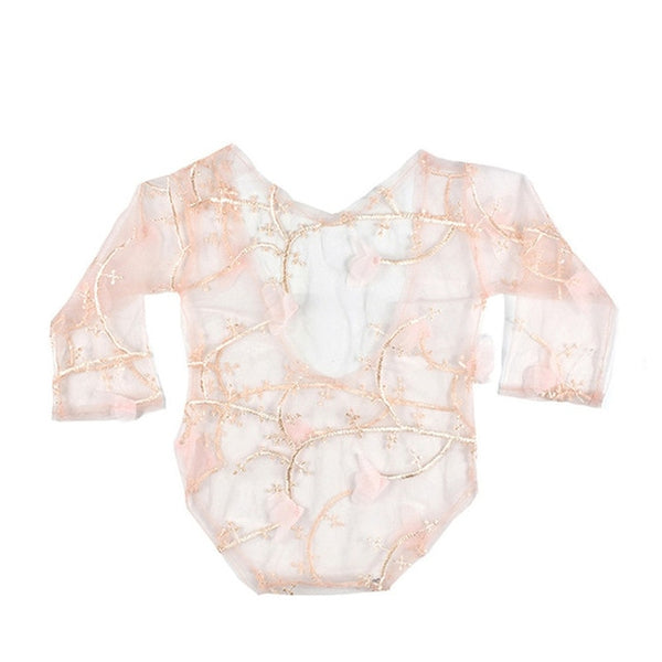 Newborn Baby Mesh Embroidery Floral Lace Romper Costume Photography Prop