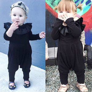 Ruffle Collar Long Sleeve Black Romper Jumpsuit