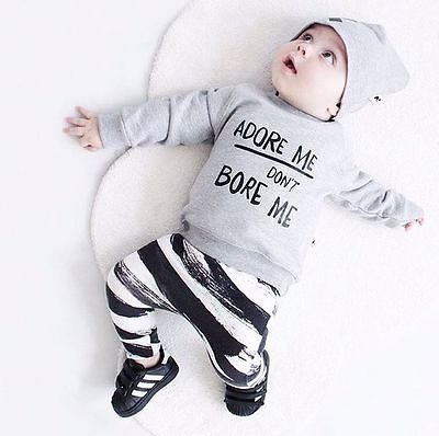 0-36M 'Adore me don't bore me' funny baby outfit Long Sleeve Tops Striped Pants Leggings Hat 3pcs