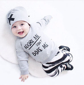 'Adore Me Don't Bore Me' 3pcs Long Sleeve Top, Striped Pants & Beanie Cap