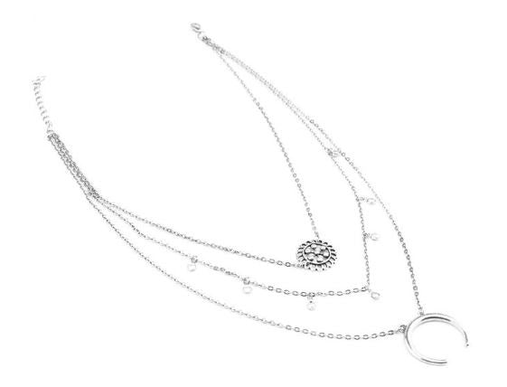 "Collier trois couches ""lune"""