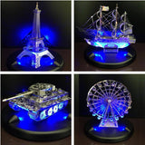 Blue LED 3D Metal Puzzle Base