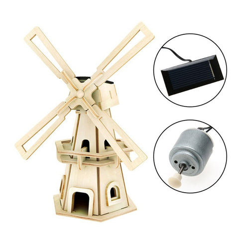 Solar Powered Wooden Windmill Puzzle