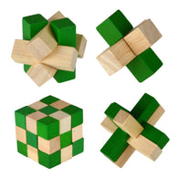 Brain Teaser Wooden Puzzle Cubes (Set of 4)