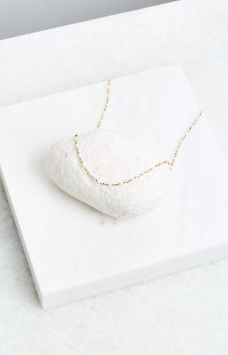 WHITE ENAMEL NECKLACE
