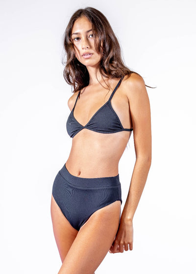 Womens High Waisted Black Bikini Bottom