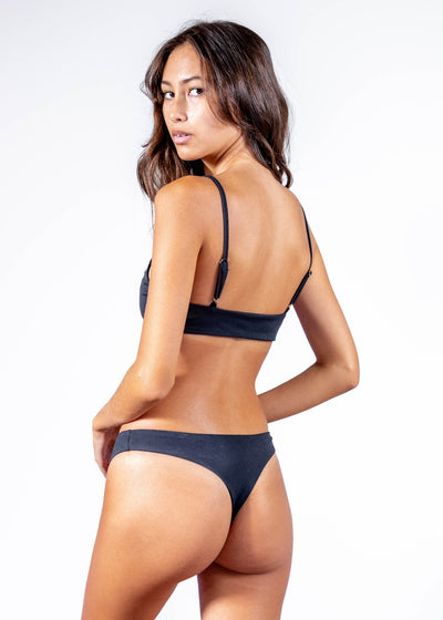 Black Ribbed Hawaii Cheeky Bikini bottom