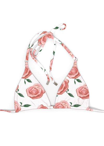 White and Pink Rose Print Triangle top