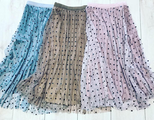 Mesh with velour polka dot Midi Skirts!