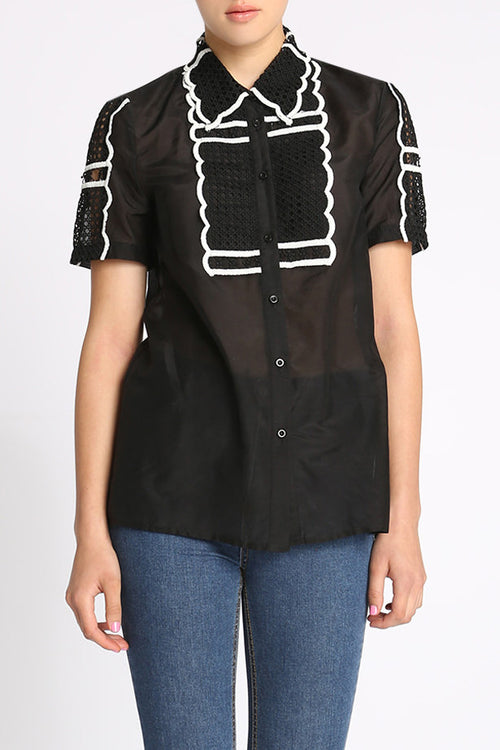 Change Your Mind Scallop Lace Shirt