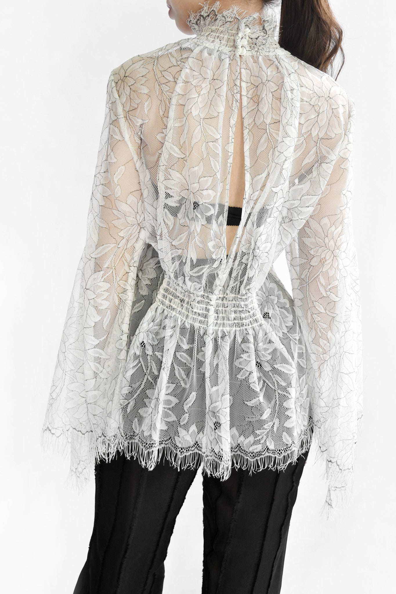 Love Myself Sheer High Neck Blouse