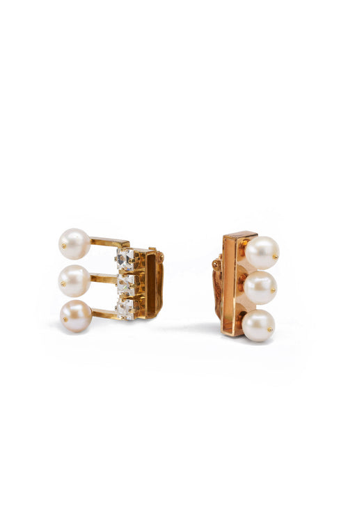 Asymmetric Clip Earrings With Pearls And Crystals