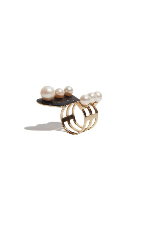 Ring In Brass And Black Resin With Freshwater Pearls