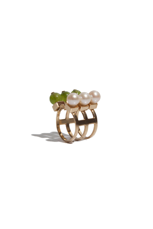 Ring With Jade And Freshwater Pearls