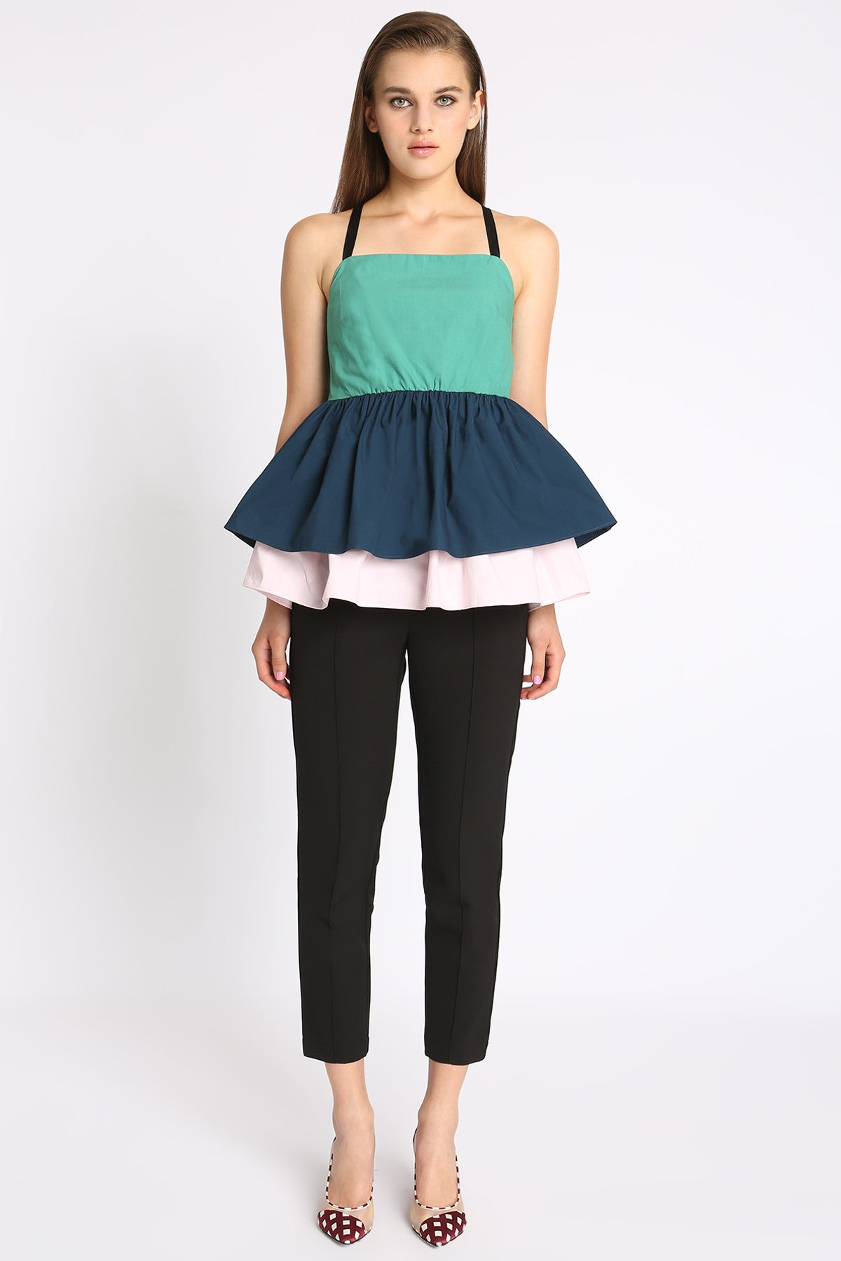 Double Layer Strappy Peplum Top