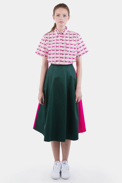 Two Tone Midi Skirt (Pink/Green)