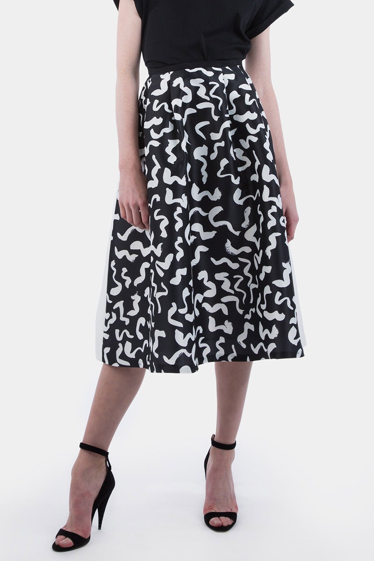 Two Tone Midi Skirt (white print)