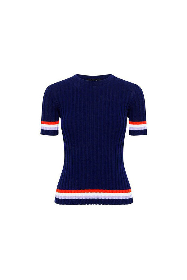 Equip Striped Knit Ribbed Top